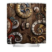 Steampunk - Clock - Time Machine Shower Curtain by Mike Savad