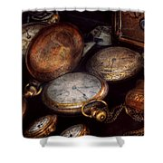 Steampunk - Clock - Time Worn Shower Curtain