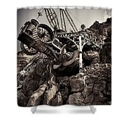 Steampunk Land Boring Machine At Disneysea Black And White Shower Curtain
