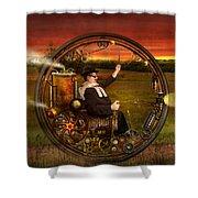Steampunk - The Gentleman's Monowheel Shower Curtain by Mike Savad