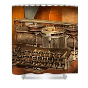 Steampunk - The History Of Typing Shower Curtain by Mike Savad