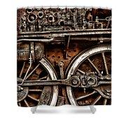 Steampunk- Wheels Locomotive Shower Curtain
