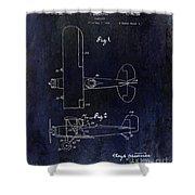 1929 Stearman Patent Drawing Blue Shower Curtain