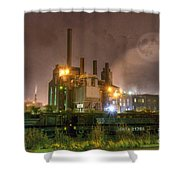 Steel Mill At Night Shower Curtain