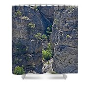 Steep Cliffs With Railroad Track Art Prints Shower Curtain