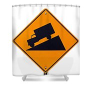 Steep Grade Hill Ahead Warning Road Sign On White Shower Curtain