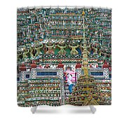Steep Stairs Lead To Higher Level Of Temple Of The Dawn-wat Arun In Bangkok-thailand Shower Curtain