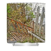 Steep Steps To Beach - Finger Lakes Shower Curtain