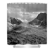 109629-bw-steeple And Temple Peaks, Wind Rivers Shower Curtain