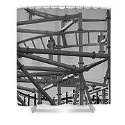Steeple Chase In Black And White Shower Curtain
