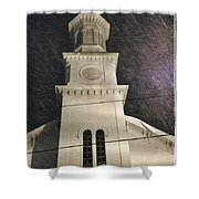 Steeple In A Snowstorm Shower Curtain