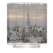 Steeples In The Snow Shower Curtain