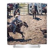 Steer Tripping Shower Curtain by Daniel Hagerman