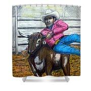 Steer Wrestling Original For Sale Shower Curtain