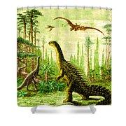 Stegosaurus And Compsognathus Dinosaurs Shower Curtain