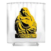 Stencil Buddha Yellow Shower Curtain by Pixel Chimp