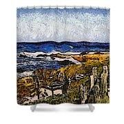 Steps To The Sea Abstract Shower Curtain by Barbara Snyder