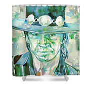 Stevie Ray Vaughan- Watercolor Portrait Shower Curtain