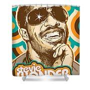 Stevie Wonder Pop Art Shower Curtain