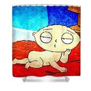 Stewie On Bed Shower Curtain