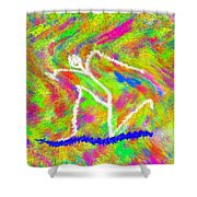 Stickman  Surfing  The  Colors Shower Curtain