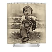 Sticky Boot Antique Sepia Shower Curtain