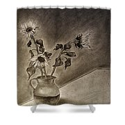 Still Life Ceramic Pitcher With Three Sunflowers Shower Curtain