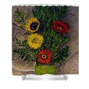 Still Life Ceramic Vase With Two Gerbera Daisy And Two Sunflowers Shower Curtain