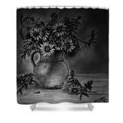 Still Life Clay Pitcher With 13 Daisies Shower Curtain