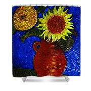 Still Life Clay Vase With Two Sunflowers Shower Curtain