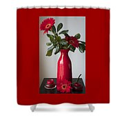 Still Life Flower Study In Red Shower Curtain