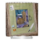 Still Life In Painted Window Shower Curtain by Karin Thue