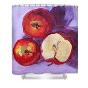 Still Life Kitchen Apple Painting Shower Curtain