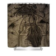 Still Life One Dried Sunflower In Metal Jug Shower Curtain