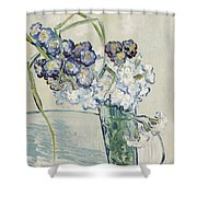 Still Life Vase Of Carnations Shower Curtain by Vincent van Gogh