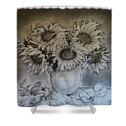 Still Life - Vase With 6 Sunflowers Shower Curtain