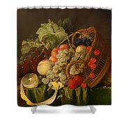 Still Life With A Basket Of Fruit Shower Curtain