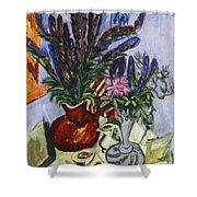 Still Life With A Vase Of Flowers Shower Curtain by Ernst Ludwig Kirchner