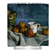 Still Life With Apples Cup And Pitcher Shower Curtain by Paul Cezanne