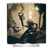 Still Life With Bones Rusty Key Wine Glass Lit Candle And Papers Shower Curtain