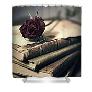 Still Life With Books And Dry Red Rose Shower Curtain
