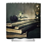 Still Life With Books And Roses Shower Curtain