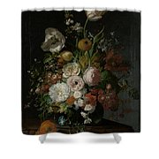 Still Life With Flowers In Glass Vase Shower Curtain