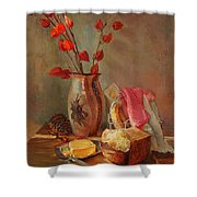 Still-life With Fresh Bread And A Knife Shower Curtain