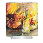 Still Life With Fruits And Flowers And Bottle Shower Curtain