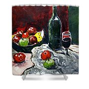 Still Life With Fruits And Wine Shower Curtain