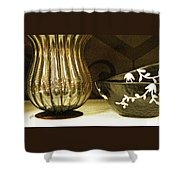 Still Life With Golden Vase Shower Curtain