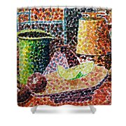 Still Life With Green Jug Painting Shower Curtain