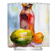 Still Life With Jug And Fruit Shower Curtain