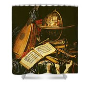 Still Life With Musical Instruments Oil On Canvas Shower Curtain